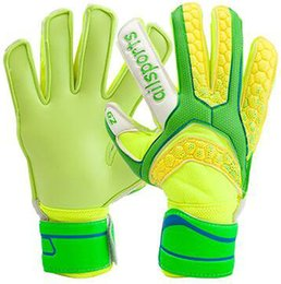 Wholesale Green skidproof goalie gloves Blue all latex Size soccer goalkeeper Football play goaltender hand finger protection