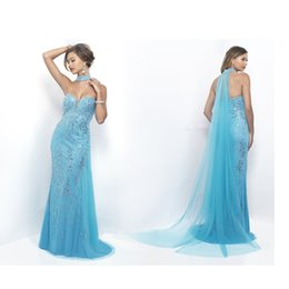 Wholesale 2017 Sky Blue Evening Dresses Mermaid Applique Crystal Sweetheart Zipper Prom Dresses Sweep Train Formal Party Dresses with Scarves