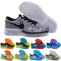 Wholesale max Fly knit Sneakers for Men Women Cheap Black White Grey Navy Blue Red Outdoor Sport Shoes Casual Mesh Running Shoes