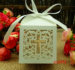 50PCS Jesus Christian Laser Cut Wedding Box in Pearlescent Paper box,party show candy box,Chocolate Box,party gifts(with ribbon)