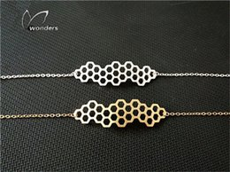 Wholesale New Fashion Beehive Bracelets Bangles Stainless Steel Chain Geometric Beehive Bracelet Best Friends Jewellery B032