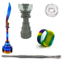 Wholesale 10mm mm mm Adjustable Titanium Quartz Hybrid Nail Tool Set Glass Bong with Rainbow Carb Cap Dabber Tool Slicone Jar Dab Container