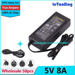 Wholesale 50pcs AC V To DC V A Power Supply A Adapter For LED Strip Light Display LCD Monitor with US EU AU UK Cord Cable