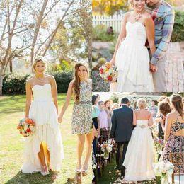 2016 New Beach High Low Summer Wedding Dresses Custom Made Sweetheart Backless Chiffon Country Bohemia Ruffles Bridal Gowns