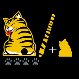 Wholesale 3D Car Stickers Cartoon Funny Cat Moving Tail Stickers Reflective Car Styling Window Wiper Decals Rear Windshield Decor Sticker