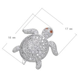Cubic Zirconia Micro Pave Brass Bead Sea turtle Platinum Plated DIY Bracelet Spacer Bead 18x17mm Hole:About 2mm 10 PCS Lot