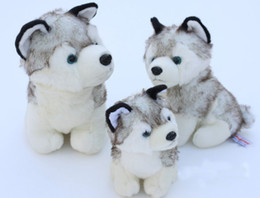 Свободный материал собаки Онлайн-Оптовый супер милый плюшевый игрушечный игрушечный маленький собачий серый хаски чучело игрушечный подарок на день рождения 18см 10шт бесплатно доставка n0908