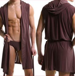 Wholesale-NEW Ice Cotton Men Bathrobe Summer Hooded Sleepwear Robes Leisure Home Sleeveless nightGown Pajama Underwear gay dressing gown