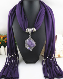 Direct Factory Newest Fashion Alloy Resin Beads Pendant Scarf For Women Elegant Geometrical Scarves Necklace From China