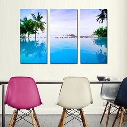 Wholesale 3 Picture Combination Wall Art Painting Pool Next To Tree And House Picture Print On Canvas Seascape Print On Canvas Home Decor