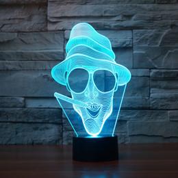 2017 New Design Smoker 3D Optical Lamp Night Light 9 LEDs Night Light DC 5V Colorful 3D Lamp