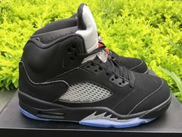 Drop Shipping Retro 5 OG Black Metallic For Men Basketball Sport Shoes Size 41-47 Ship With Box