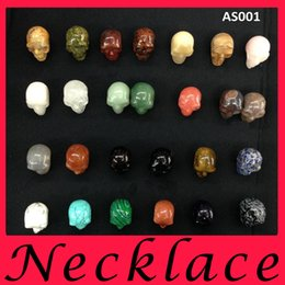 Wholesale fashion jewelry Can be equipped with rope chain DIY mm Big human skull Natural stone pendant Loose Beads charm mens bracelets necklace