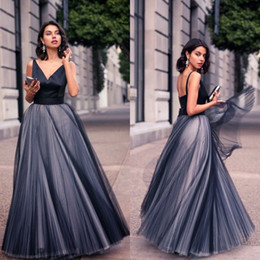 Modest 2016 New Arrival Navy Blue Satin And Tulle A-line Dresses Evening Wear Cheap V Neck Bow Back Floor Length Evening Gowns EN5138
