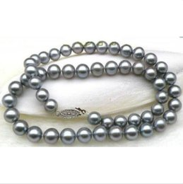 """VERY SURPRISING 10-11MM SOUTH SEA GRAY PEARL NECKLACE 18"""" 14k WHITE GOLD"""