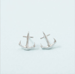 Wholesale 10pair lot Fashion Jewelry Minimalist Wedding Accessories Tiny Anchor Stud Earrings For Women In Gold Silver Rose Gold