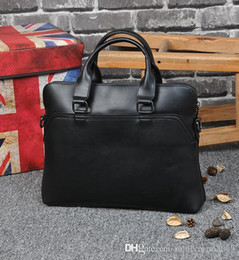 Wholesale Factory sales of brand bags of simple splicing high capacity portable briefcase man crazy horse leather business men briefcase retro compute