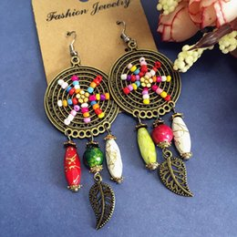 Wholesale High Quality European Garden Style Bohemia Ethnic Antique Gold Copper Earring Retro Trend Tassel Big Circle Jewelry for Women