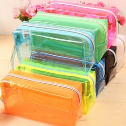 Fashion stationery Pencil Bag transparent candy color Pen Cases Free Shipping Student school Supplies Cosmetic Bag