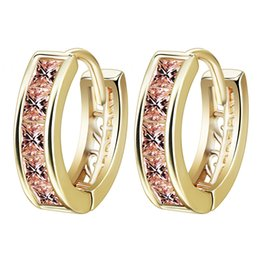 Wholesale Circle Pin - Vintage Women Round Earrings Cubic Zirconia Gold Plated Earring Orange Stone Crystal Luxury Circle Hoop Earring Jewelry Ear Pins