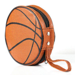 Wholesale New Arrival Orange Basketball Pattern Zippered Round Case Pieces Capacity DVD CD Holder Bag holder wire