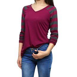 Wholesale Women s T Shirt Striped Long Raglan Sleeves V Neck Casual Tops Tees Green Purple Chuvivi Unique Fashion Apparel