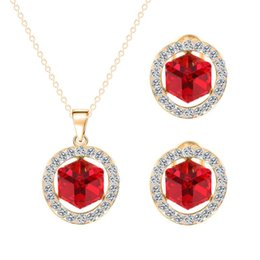 Canada Costume Fashion Nouvelle Collection Shape plaqué or 18k cristal autrichien ronde Parures pour Sets Collier Femme Boucles d'oreilles 18k gold collection set on sale Offre