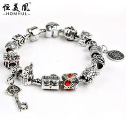 Wholesale vintga DIY beaded bracelet Charm Bracelet with master key pendant Safety Chain for Women Russia Brazil Jewelry