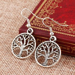 Wholesale 2016 Antique Silver And Gold Tree Of Life Charm Earrings Silver Fish Ear Hook Chandelier