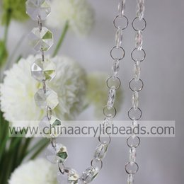 Wholesale 18MM octagon cut faceted Chandelier beaded chain trimming with jump ring for summer wedding Decoration M