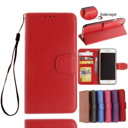 Wholesale Wallet PU Leather Case For iPhone plus Flip Book Phone Bag Cover With Card Holder Shell for iphone S SE C S Plus Lichee patterns