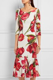 Fashion Flower Print Women Mermaid Dress Hals Sleeve Dresses 062006