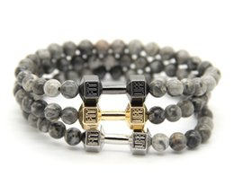 Wholesale 2016 Men s Power Jewellry mm High Quality Grey Veined Picture Jasper Stone Beads with Alloy Fitness Dumbbell Bracelets