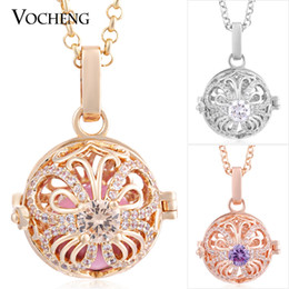 Angel Lockets Bola Hollow out Blossom Maternity Necklace 3 Colors Inlaid CZ Stone Stainless Steel Chain VA-226