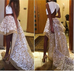2016 Two pieces Prom Dresses Hi-Lo Lace Skirt of Ogenza Art Designer Sexy Back with Train Graduation Gowns