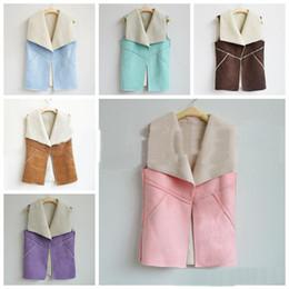 Desconto women s faux fur vest 2017 hot Mulheres Winter casaco de camurça Couro Faux Fur Vest Jacket Vire-down Collar mangas outerwear Falso velo Wasitcoat Plus Size Vest