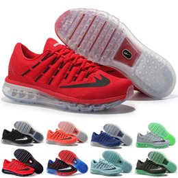 Wholesale 2016 Max Sneakers for cheap for Men Air Mesh Black White Grey Green Navy Red Mixed Kids Running Shoes Size US