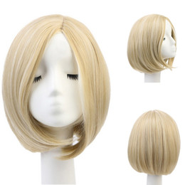 Wholesale Dreamlike beautiful white blonde short straight traditional bob synthetic wigs with skin for women