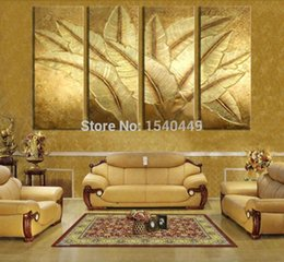Wholesale 4 Piece Hand Painted Modern Picture Still Life Oil Painting on Canvas Abstract Gold Banana Leaf Wall Art Home Decor Set