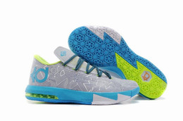 Wholesale Kevin Durant KD6 Pure Platinum Night Factor Vivid Blue Volt Basketball Shoes Men Cheap Kds KD VI Grey Blue Sneakers For Sale