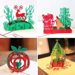 Wholesale Christmas Laser Cut Greeting Cards - Laser Cut Invitations Handmade Kirigami & Origami 3D Pop UP Card Creative Merry Christmas Gift&Greeting Cards 4 Style