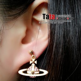 Wholesale 100 Brand New High Quality Fashion Picture lt lt Pink dot ORB Pink Diamond Earrings UFO Saturn VE32015703