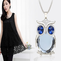Wholesale Cystal Statement Locket Necklaces Women Lady Owl Alloy Fashion Long Sweater Chian Pendant Necklace Party High Quality Jewerly Colors