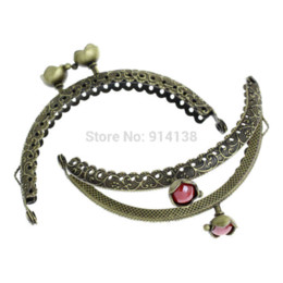 Wholesale 3 Metal Frame Kiss Clasp Arch For Purse Bag Antique Bronze Red Resin Ball Flower Pattern Carved cm x cm B01678