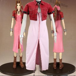 Popular Role Cosplay Final Fantasy VII Aerith Cosplay Costume Dress Halloween Custom Made Full Set Headwear Accessories Anime Suit Customize