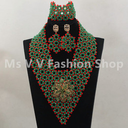 2019 new arrival Exclusive Mix Green and Red African Bridal Beads Necklace Set Handmade Nigerian Wedding Jewelry Set Brooch Free Shipping