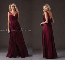 Hot 2019 Burgundy Bridesmaid Dresses V Neck Sleeveless A Line Beaded On Top Floor Length Long Junior Bridesmaid Dresses