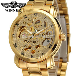 Wholesale 2016 new winner Luxury Brand Luxury Sport Men Automatic Skeleton Mechanical Military Watch Men gold full Steel Stainless Band