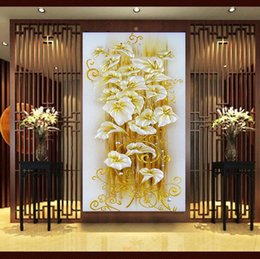 Wholesale DIY Diamond Painting D Crystal lily flower D Cross Stitch Flores Needlework Embroidery Diamonds Wall Stickers Home Decoration Wall paper