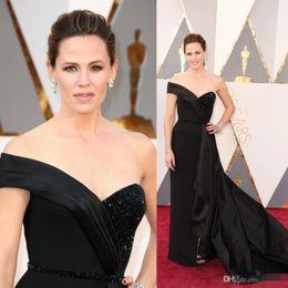 Long Black 2019 Oscars Jennifer Garner Red Carpet Prom Dresses Beads Sweetheart V Sweep Train Celebrity Evening Dresses Formal Party Gowns